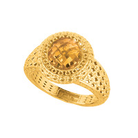 Mesh Weave With Citrine Ring In 14K Gold