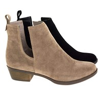 Austin14 By Breckelle's, Western Slide In Ankle Bootie Low Block Heel w V Slit Side Cutout