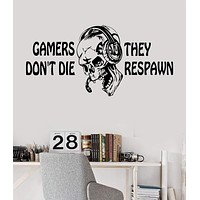 Vinyl Wall Decal Gamer Skull Headphones Quote Video Games Stickers Unique Gift (ig3656)