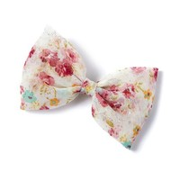 Chiffon Floral Print Bow with Glitter Hair Clip    Icing
