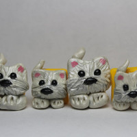Puppy Magnets Set of 4 Miniature Magnets Silkie Terrier White