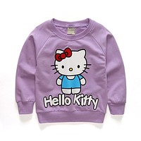 Brand Baby Kids Girls Hoody Tops Clothes Autumn Jacket Long Sleeve Sweater Sports Children Clothing Hello Kitty