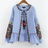 Women Embroidery Shirt Long Sleeve Tassel Ruffles Kimono Cardigan mujer Blouse Tops with a brush camicia donna ricamo