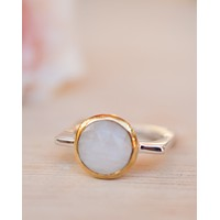 Dercy Square Ring * Moonstone *  Silver Plated * BJR165