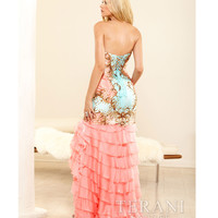 Terani 2014 Prom Dresses - Coral & Multicolor Strapless Sweetheart Prom Dress