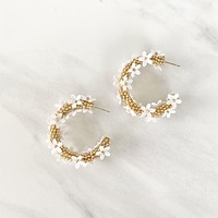 Floral Reflections Gold Earring in Ivory