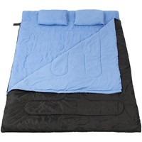 """Double Sleeping Bag 23F -5C 2 Person Camping 86""""x60"""" w/ 2 Pillows"""