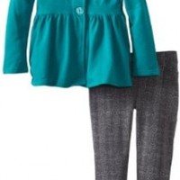 Calvin Klein Little Girls' Jacket with Pants 4-6X, Green, 4