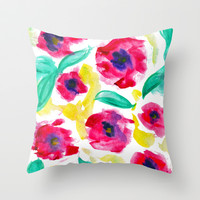 FANCY FLORAL Throw Pillow by Lauren Lee Designs