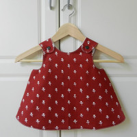 Baby Girl Pinafore Dress, Vintage Tampella fabric, Red and White with Tulips, 12 months