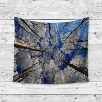 """""""Winter Trees"""" Snow Forrest Wall Tapestry"""