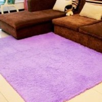 Super Soft Modern Shag Area Rugs Living Room Carpet Bedroom Rug for Children Play Solid Home Decorator Floor Rug and Carpets 4- Feet By 5- Feet (Purple)