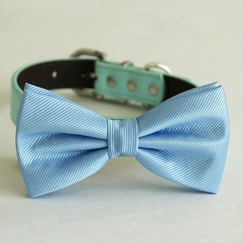 Blue bow tie collar Leather dog Ivory blue orange copper Navy brown or Gold collar dog of honor dog ring bearer Puppy XS to XXL collar and bow tie, adjustable , Wedding dog collar