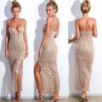 2015 Sexy sequined dress straps dress  AWE54F