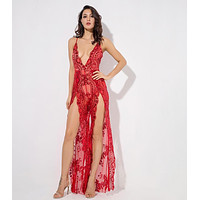 Zane- Red Flower Sequins Deep V-Neck Open Back Jumpsuit