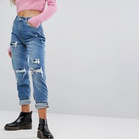 Bershka Distressed Denim Boyfriend Jeans at asos.com
