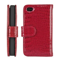 Red Wallet Style Magnetic Flip Textured Crocodile Leather Case with Credit Card / ID Slots for iPhone 4 / 4s (AT&T, Verizon, Sprint)