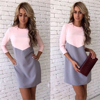 Fashion Women Multicolor Pink and Grey Bodycon Long Sleeve  Dress