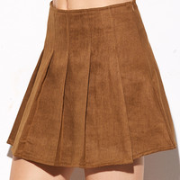 Camel Suede Pleated Skirt