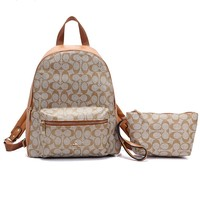 Coach fashion casual lady's backpack is a hot seller of shopping backpacks with printed patchwork color #4