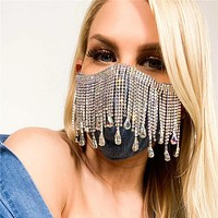 Summer new style rhinestone fringed gem mask