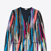 Saint Laurent Oversized Cardigan In Multicolor Patchwork Mohair And Wool Jacquard   ysl.com