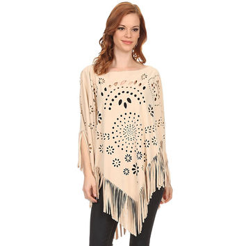 Faux Suede Cut Out Poncho