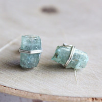 Raw Green Tourmaline Crystal Stud Earrings, Healing Crystals and Stones, October Birthstone, Bohemian Hippie Jewelry