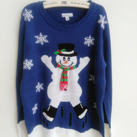 Adorable Jumping Snowman Wearing Special Scarf Ugly Christmas Sweaters for Women Snowflake Print Pullovers S-XL