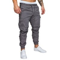 Vertvie Men Running Pants Fitness Jogger Solid Plus Size  Sweatpants Male Cotton Multi-pocket Sportwear Baggy Comfy Pant Joggers