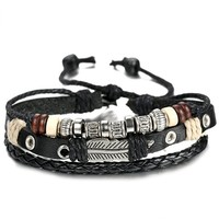 Leather Charm Bracelet for Men Braided Wrist Cuff, Adjustable 7.6-11 inches