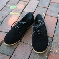 """Eugenia"" Suede Lace Up Oxfords - Black"