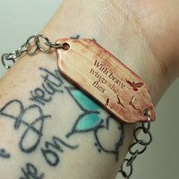 Mantra bracelet With brave wings she flies Quote jewelry Aromatherapy Hematite bead Marsala Adjustable