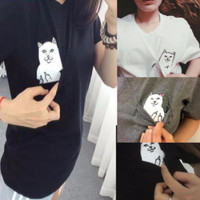 Hidden Middle Finger in Pocket Cat Round Necked Shirt T-shirt Top  _ 3912