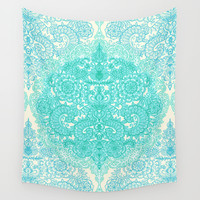 Happy Place Doodle in Mint Green & Aqua Wall Tapestry by Micklyn