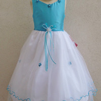 Flower Girl Fishing Line Color Top Dress Turquoise with  for Easter Wedding Bridesmaid