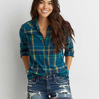 AEO Plaid Boyfriend Shirt, Teal
