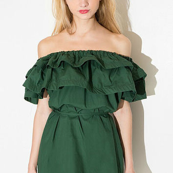 Teal Frilled Off-the-Shoulder Dress