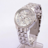 New Silver Color Ladies Stainless Steel Mens Quartz Analog Wrist Watch Luxury Geneva Brand Dial Man Boy Dress Watch Women Fashion Watches (Size: M, Color: Silver) = 1956474436