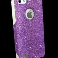 Custom Glitter Case Otterbox for iPhone 5 Orchid Purple/White