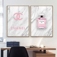 Marbling Pink Perfume Landscape Wall Art Canvas Painting Nordic Posters And Prints Wall Pictures For Living Room Wall Decor
