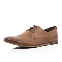 River Island MensBrown leather wedge sole formal shoes