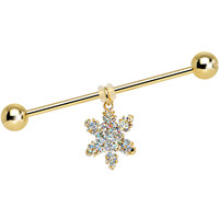 Beautiful Winter Snowflake Dangle Industrial Barbell | Body Candy Body Jewelry