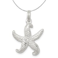 Sterling Silver Textured Starfish Charm or Necklace