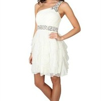 One Shoulder Short Prom Dress with Stone Waist and Tendril Skirt