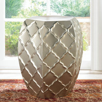 satin silver iron shabby Metal Moroccan seat stool end table accent plant stand