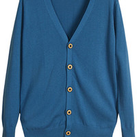 Turquoise Knitted Button Detail Cardigan