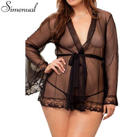 S-4XL Plus size sexy hot erotic lingerie for women nightwear 2016 lace mesh patchwork see through nightgown porn slim babydoll