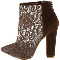 Breanna Brown Lace Booties