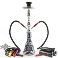 """NeverXhale Starter Series: 18"""" 1 or 2 Hose Convertible Hookah Shisha Combo Kit Set w/ Never Exhale Charcoal, Hydro Herbal Molasses, and Bowl Screen (Frosted Metallic Black)"""